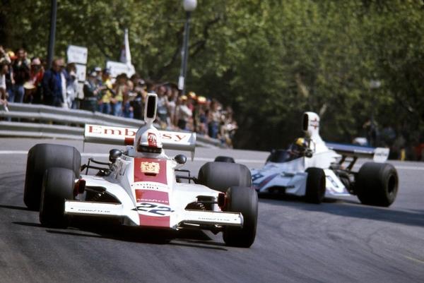 Rolf Stommelen Carlos Pace Montjuic 1975
