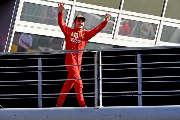 Charles Leclerc podium Monza 2019