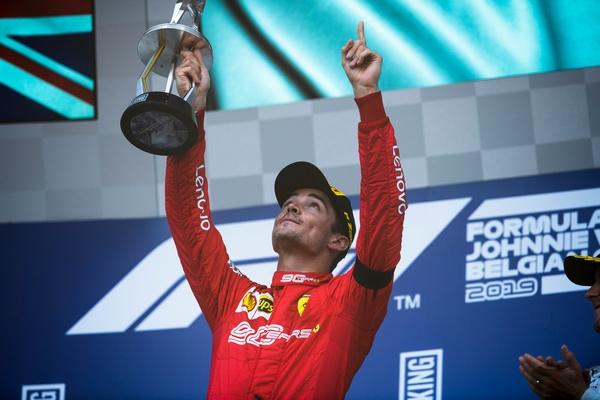 Charles Leclerc podium Spa 2019